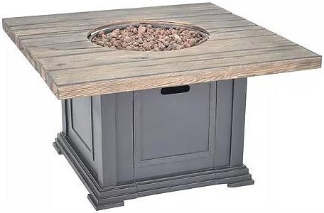 Veranda Classics by Foremost Fire Pits Romance II Sq. Gas Fire Pit w/ TerraFab Base & Wood Look Top w/ Lava Rock & Weather Cover