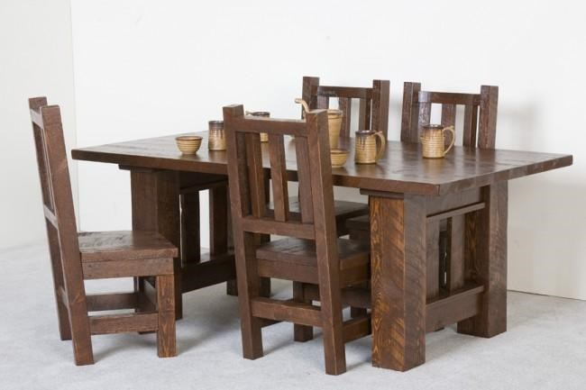 Log Furniture Barnwood 5 Piece Table And Chair Set   Becker Furniture World    Dining 5 Piece Set