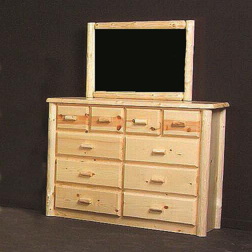 Log Furniture Northwoods Ten Drawer Chesser And Mirror   Becker Furniture  World   Dresser U0026 Mirror