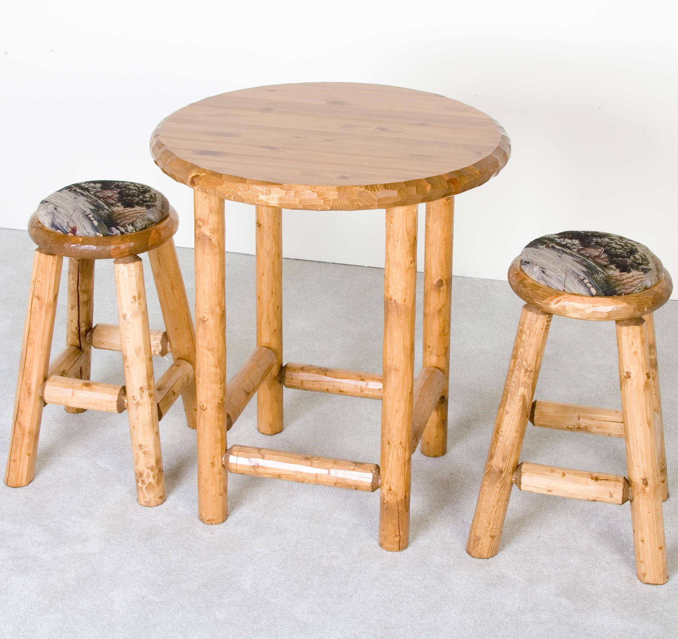 Log Furniture Rustic Pub Table And Upholstered Stools Set   Becker Furniture  World   Pub Table And Stool Set