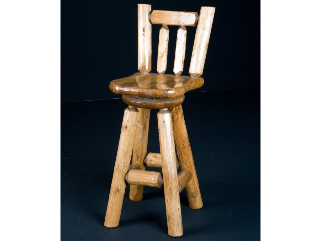 Log Furniture Rustic 30 Inch Swivel Bar Stool with Wooden Saddle ...