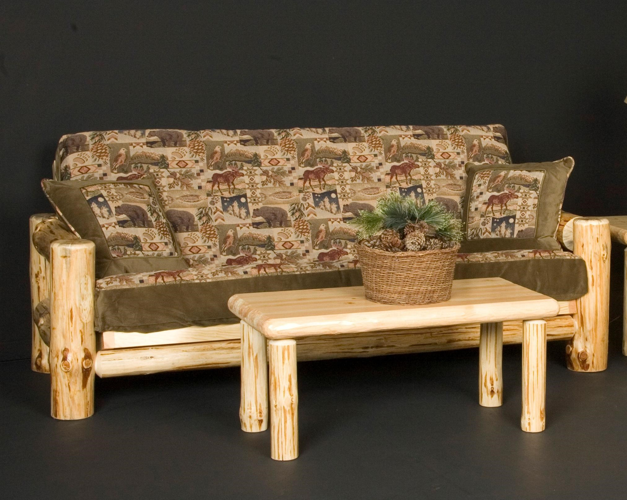 Wilderness Rustic Full Futon With Included Mattress And Exposed Wood Frame    Becker Furniture World   Futon