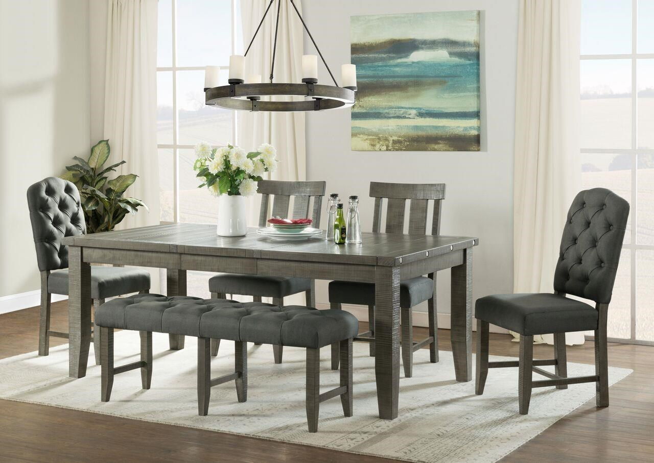 Vilo Home Industrial Charm VH3800  6pc Dining Set With Bench Industrial  Charm