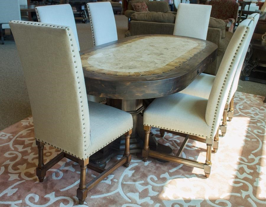 Vintage Dining Sets Travertine Oval Top Double Pedestal Dining Table U0026 6  Upholstered Side Chairs   Great American Home Store   Dining 7 (or More)  Piece Sets