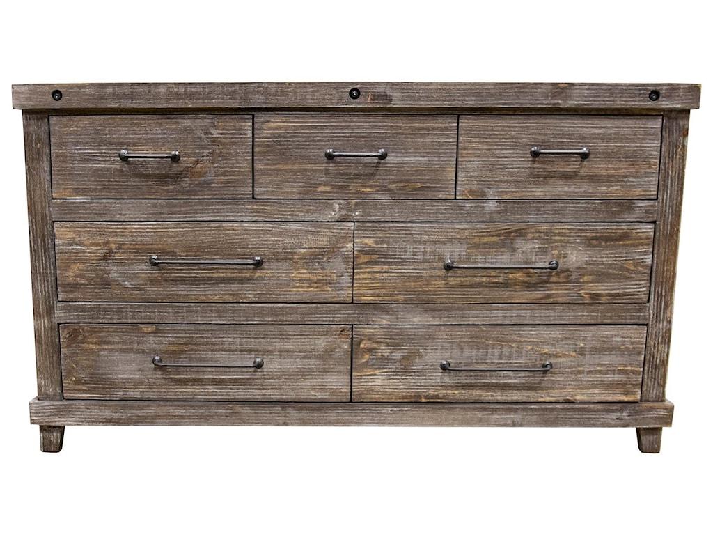 Vintage Industrial Bedroom7 Drawer Dresser