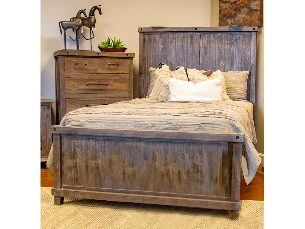 Vintage Industrial BedroomQueen Panel Bed