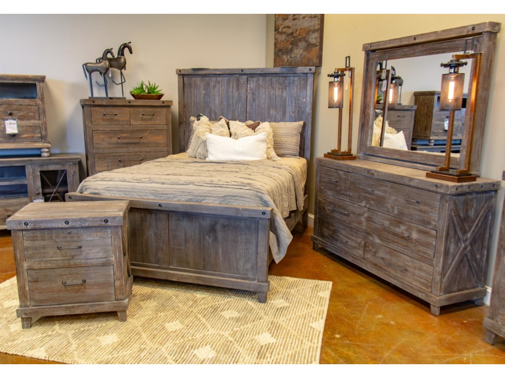 Vintage Industrial BedroomQueen Bed, Dresser, Mirror, and Nightstand