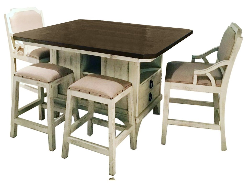 Vintage BiscayneIsland Table, 4 Backless Barstools, & 2 Bars