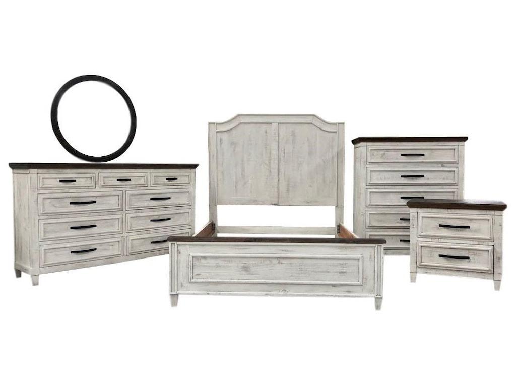 Vintage WillowQueen Bed, Dresser, Mirror & Nightstand
