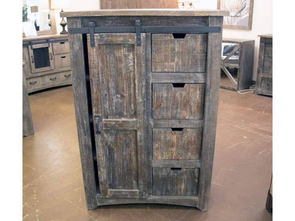Vintage Mesh BarnwoodSliding Door Chest