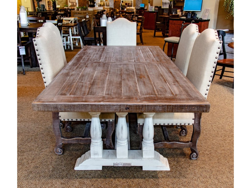 Vintage VineyardPedestal Table with 6 Dining Chairs