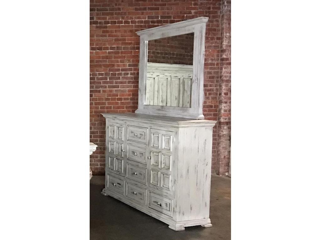 Vintage ChaletNero White Dresser & Mirror