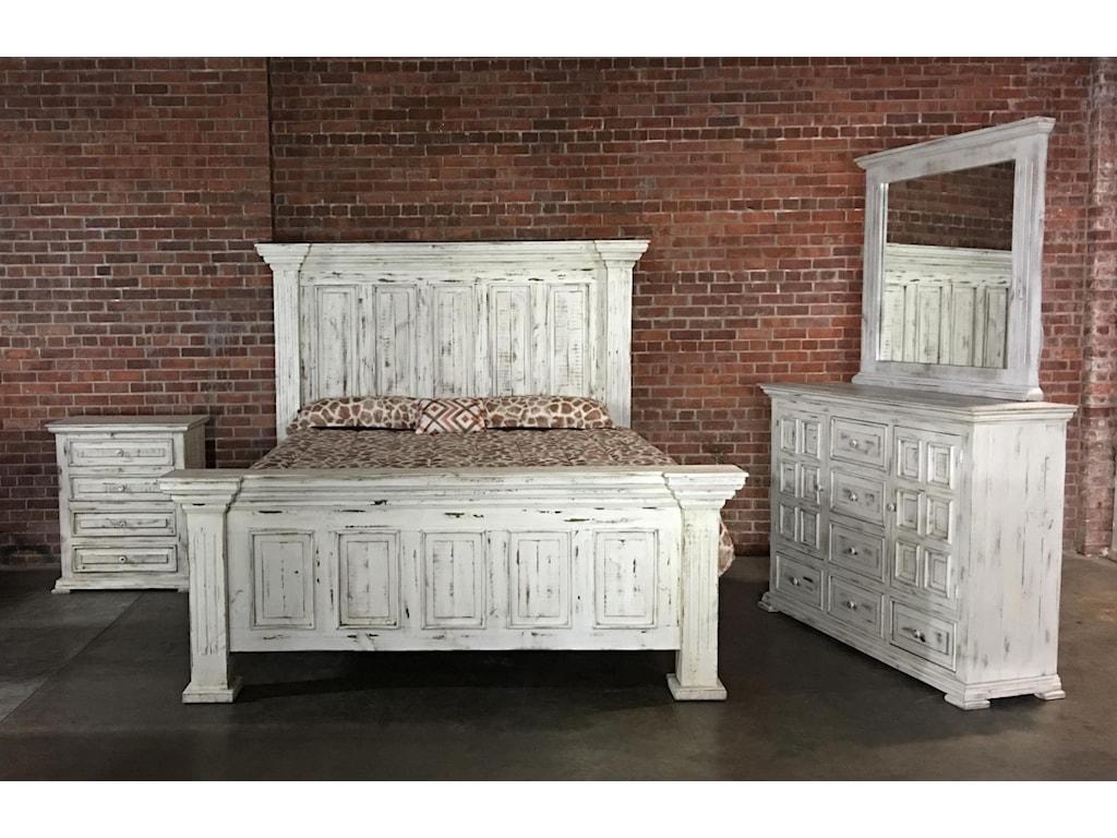 Vintage ChaletQueen Nero White Bed, Dresser, Mirror & Nigh