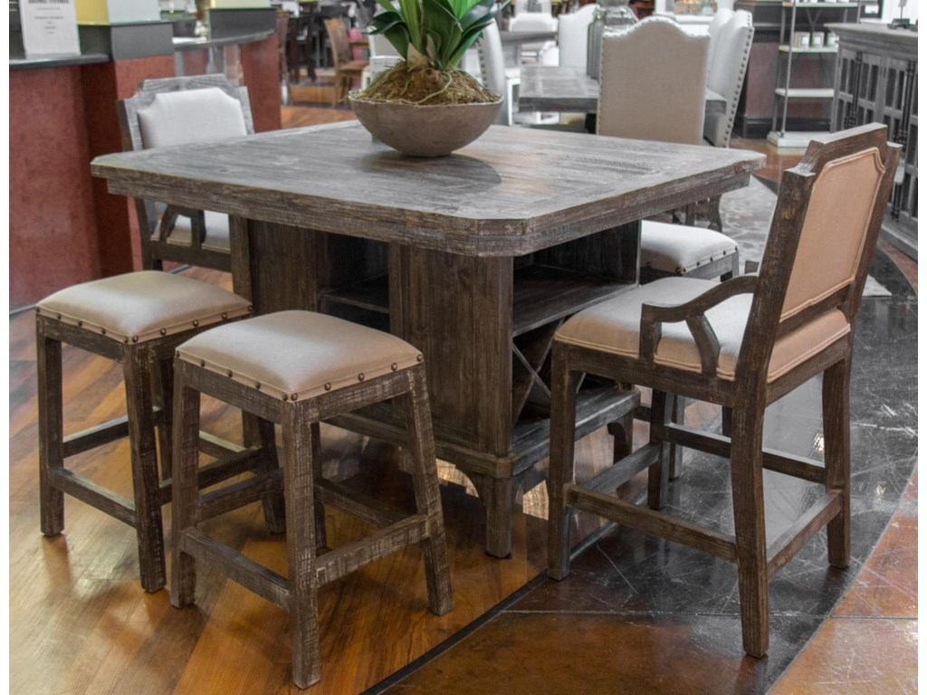 Artesia Kitchen Island Pub Table 4 Backless Barstools 2 Barstools By Vintage At Great American Home Store