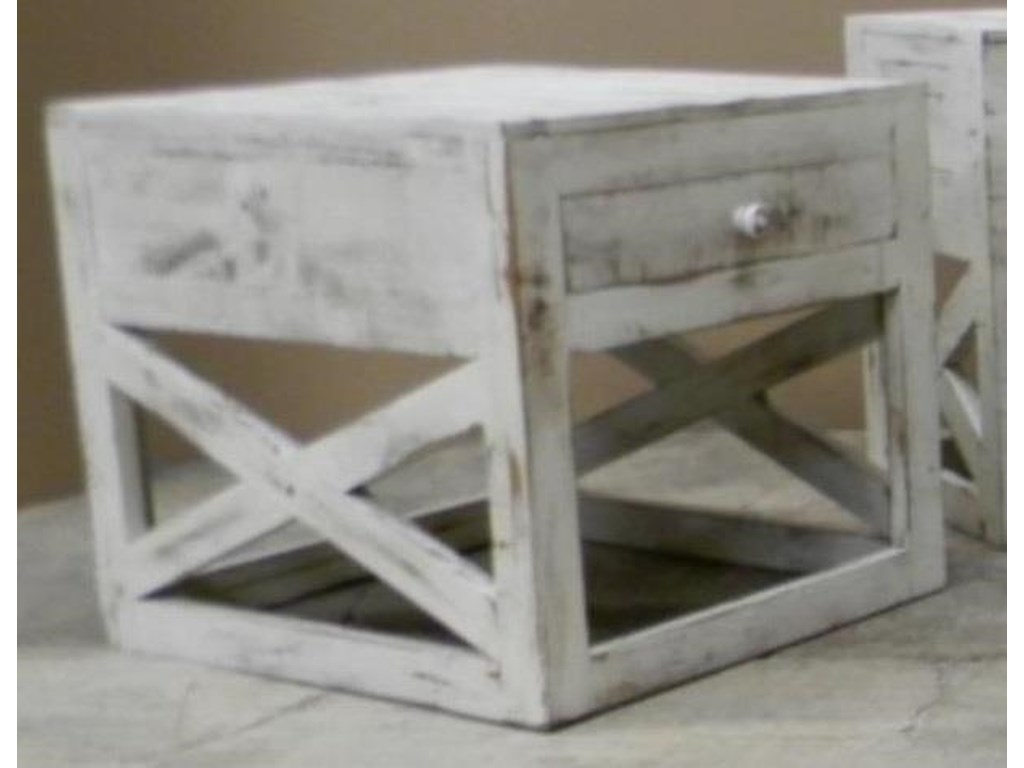Vintage Occasional TablesCross End Table in Nero White