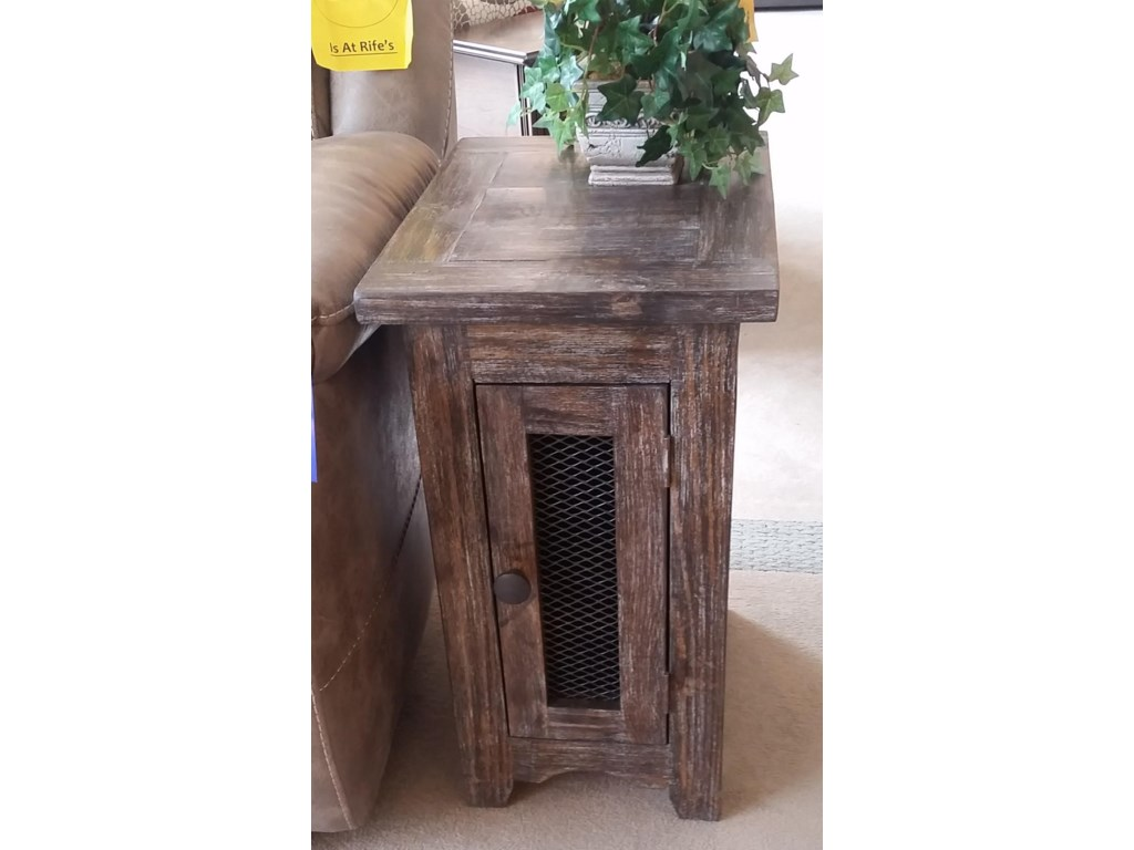 Vintage Jon1027 Side Table With Mesh Door In Barnwood Rife S Home