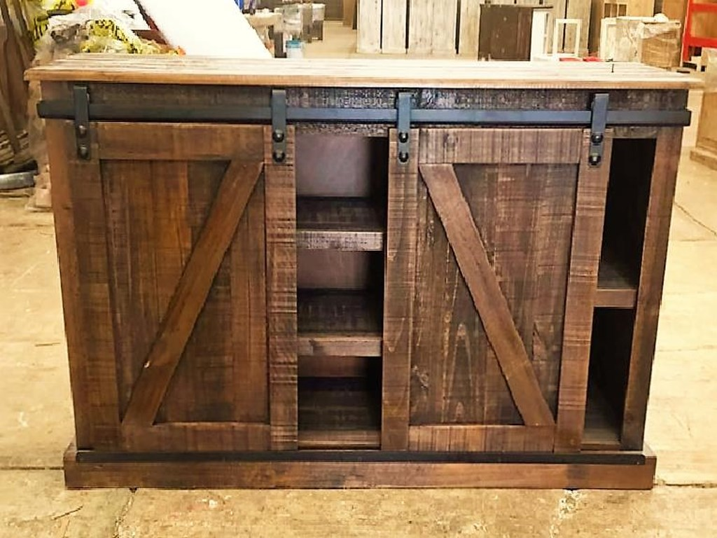 Micent145 61 Sliding Door Media Console In Rodeo By Vintage