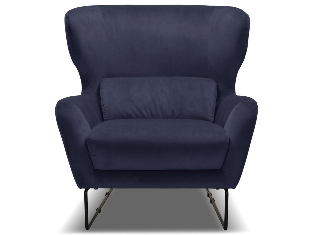 Violino 1140Navy Blue Contemporary Velvet Chair
