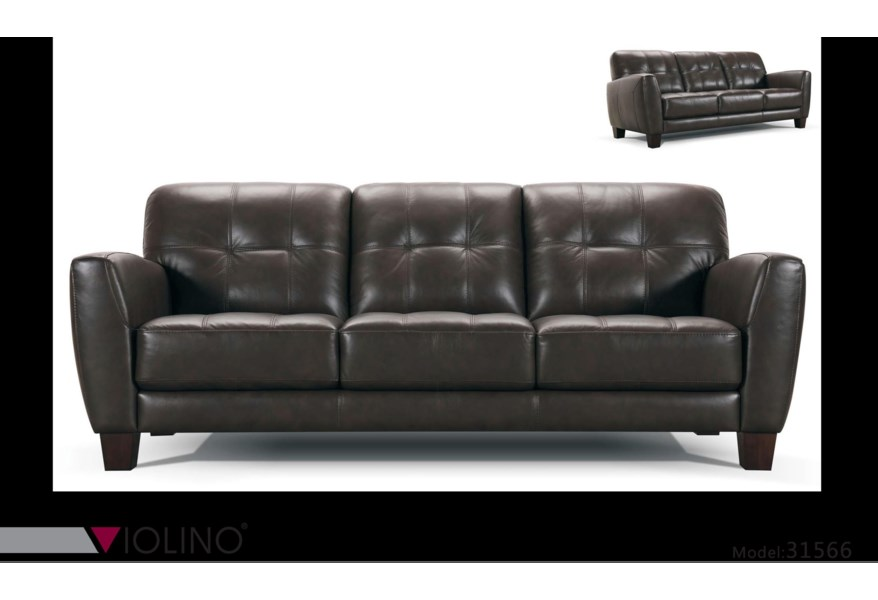 31566 Tufted Leather Sofa by Violino at Dunk & Bright Furniture
