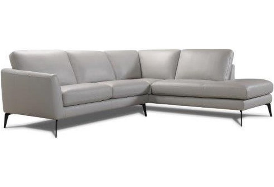 31628 Leather Chaise Sectional by Violino at Dunk & Bright Furniture