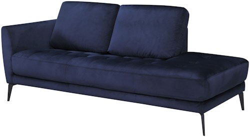 Violino 31678 Modern One Arm Chaise Lounge with Button Tufted Seat