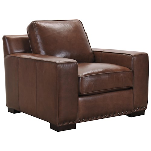 Belfort Select Patrick Transitional Brown Leather Chair with Memory Foam Cushions