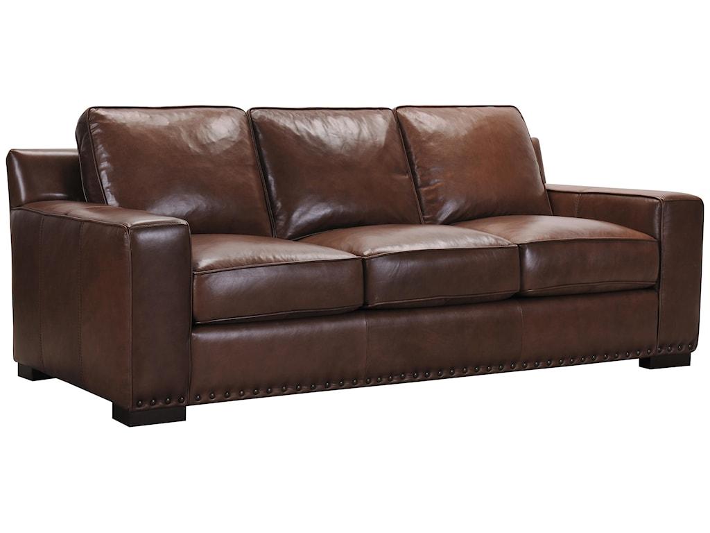 Violino Patrick Brown Leather Sofa With Memory Foam Cushions