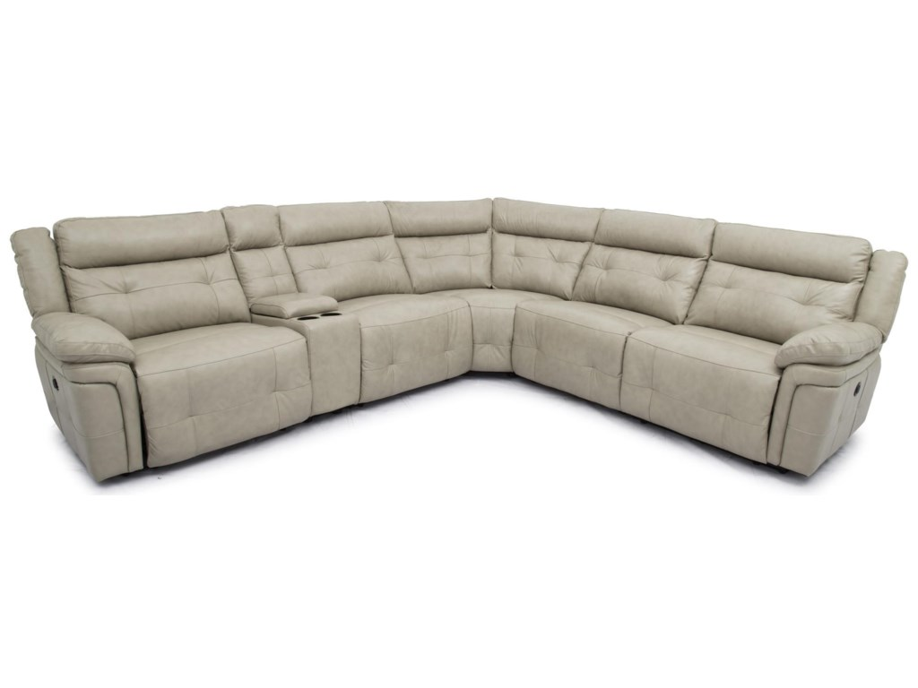 Warehouse M 9857Top Grain Leather Match Reclining Sectional