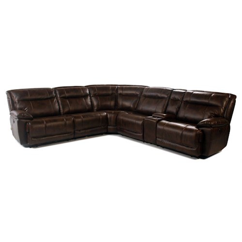 Madison Manor Mustang 6PC Power Reclining Sectional w/ Storage Console