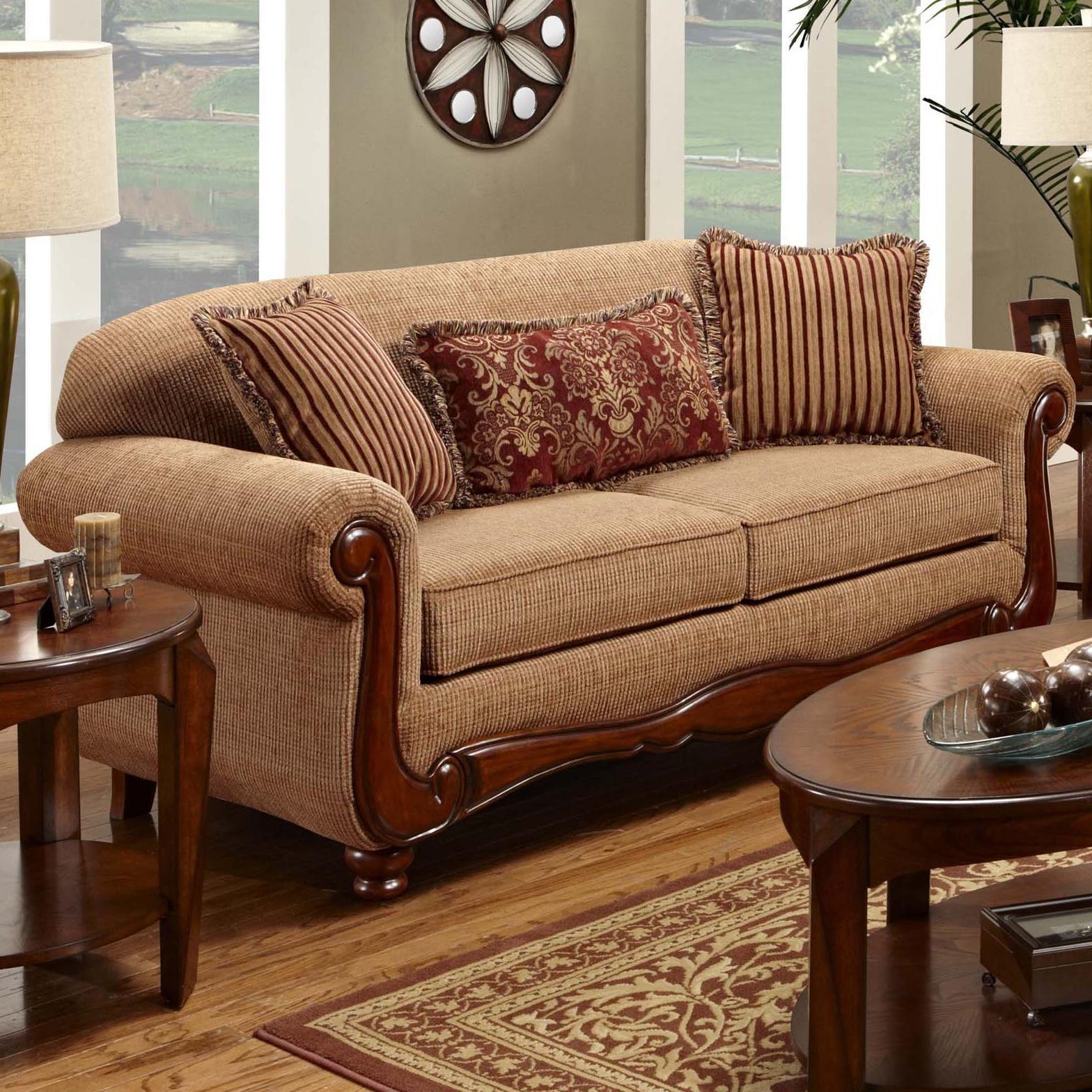 Washington Furniture 1000 Traditional Sofa With Rolled Arms   Adcock  Furniture   Sofa