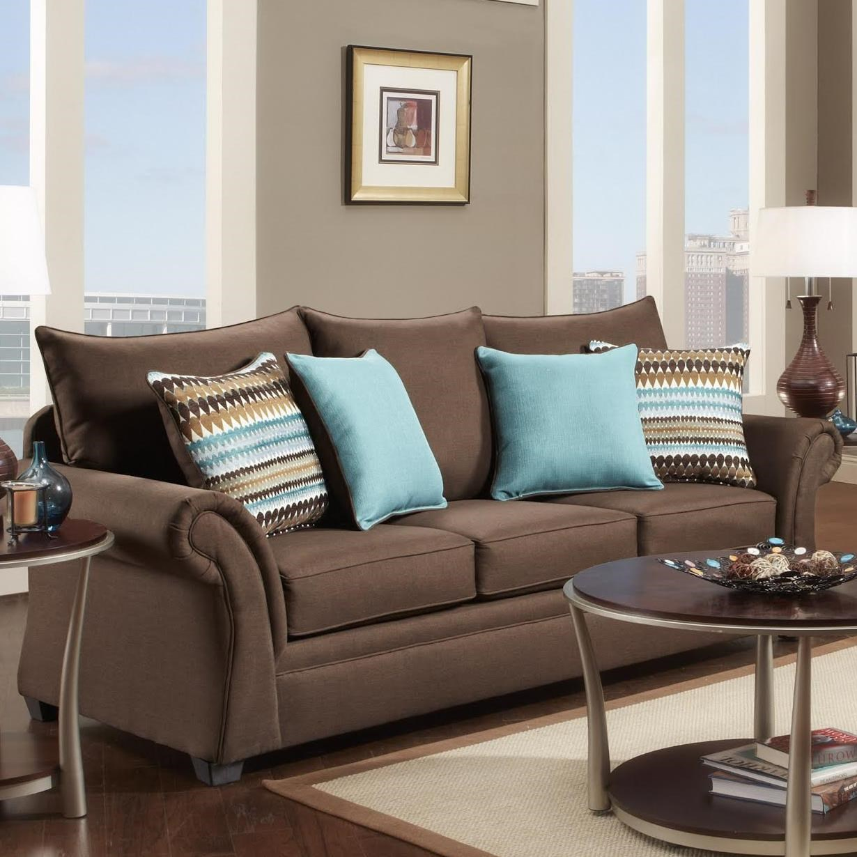 Washington Furniture 1560 Transitional Sofa With Rolled Arms   Adcock  Furniture   Sofas