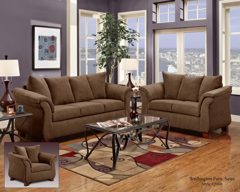 Washington Furniture 2000 Two Seat Loveseat With Flared Armrests