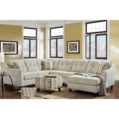 Washington Furniture Aussie Transitional 5 Seat Sectional with Chaise
