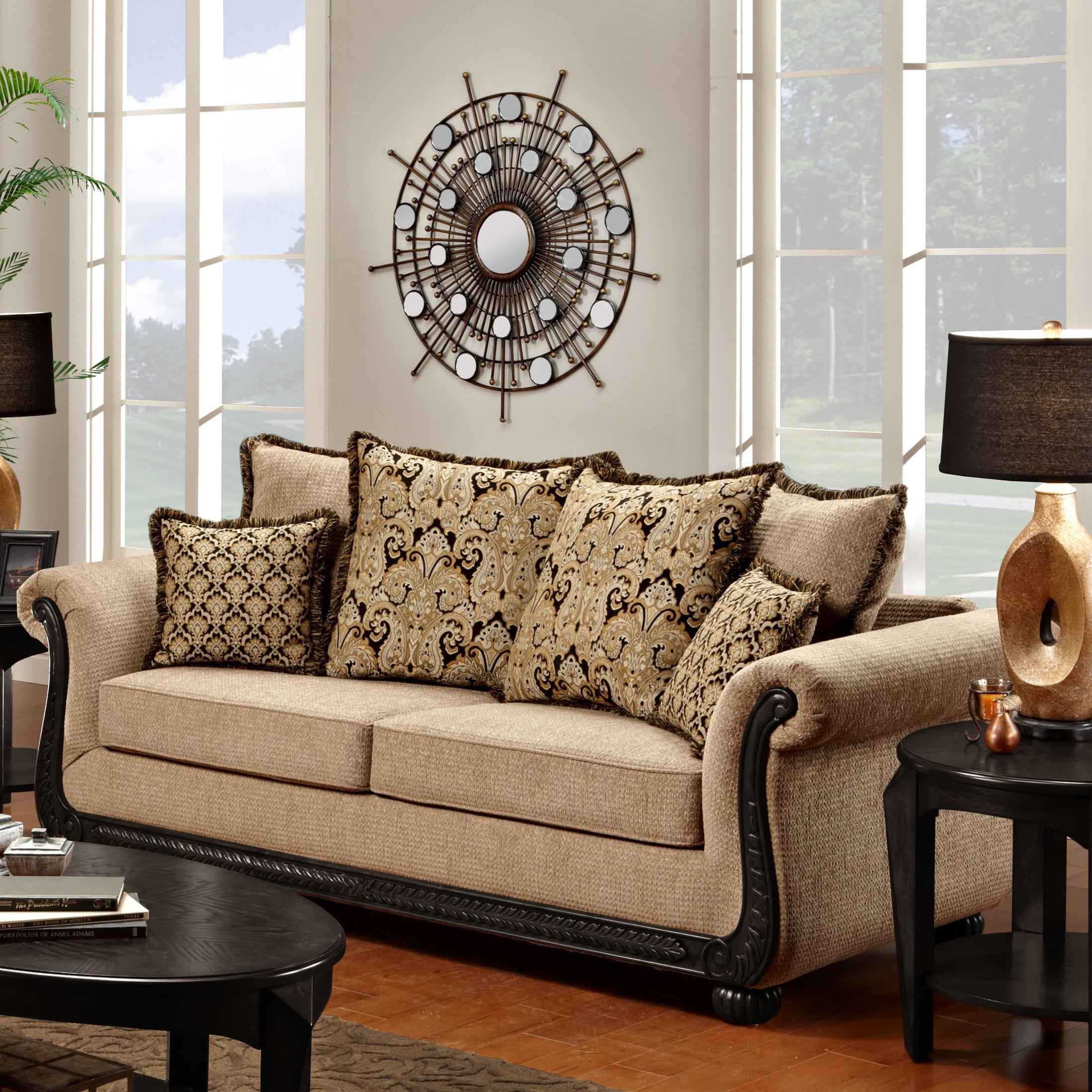 Washington Furniture 6000 Traditional Rolled Arm Sofa With Scrolled Wood  Trim