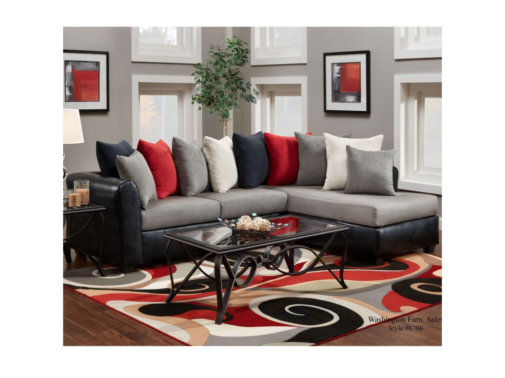 Washington Furniture 6700Sectional with RSF Chaise
