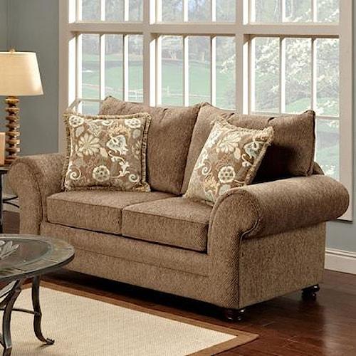 Washington Furniture Maya Bark Casual Beige Rolled Arm Loveseat