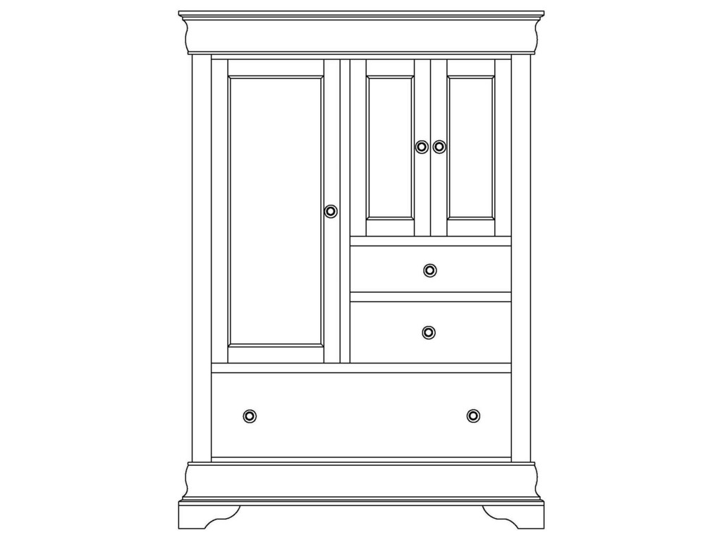 Wayside Custom Furniture ChateauArmoire 3 Door, 3 Drawer