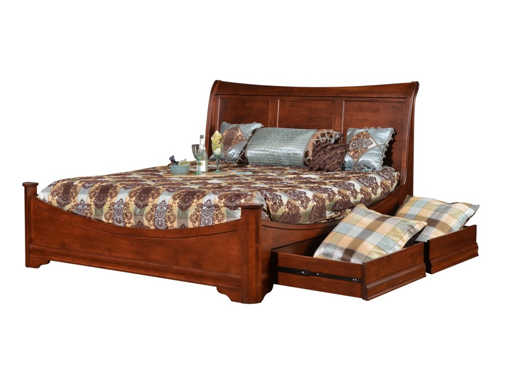Wayside Custom Furniture ChateauKing Sleigh Bed With Side Storage