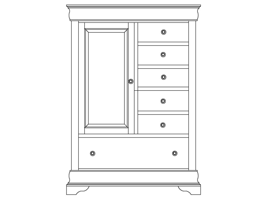 Wayside Custom Furniture ChateauArmoire 1 Door, 6 Drawers