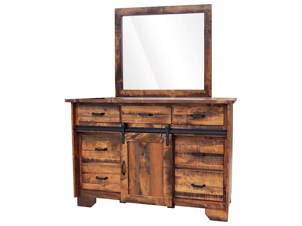 Wayside Custom Furniture Bear Creek 7 Drawer Barn Door Dresser