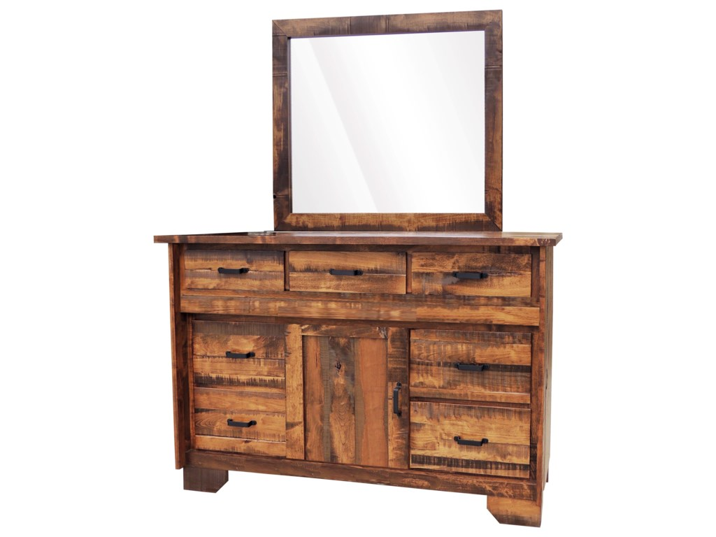 Wayside Custom Furniture Bear Creek7 Drawer Dresser & Mirror