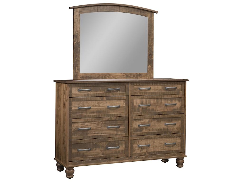 Wayside Custom Furniture Carson8 Drawer Mule Dresser & Mirror