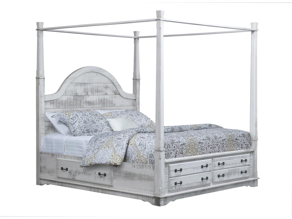 Wayside Custom Furniture Cottage RetreatKing Poster Bed With 3-Sided Storage