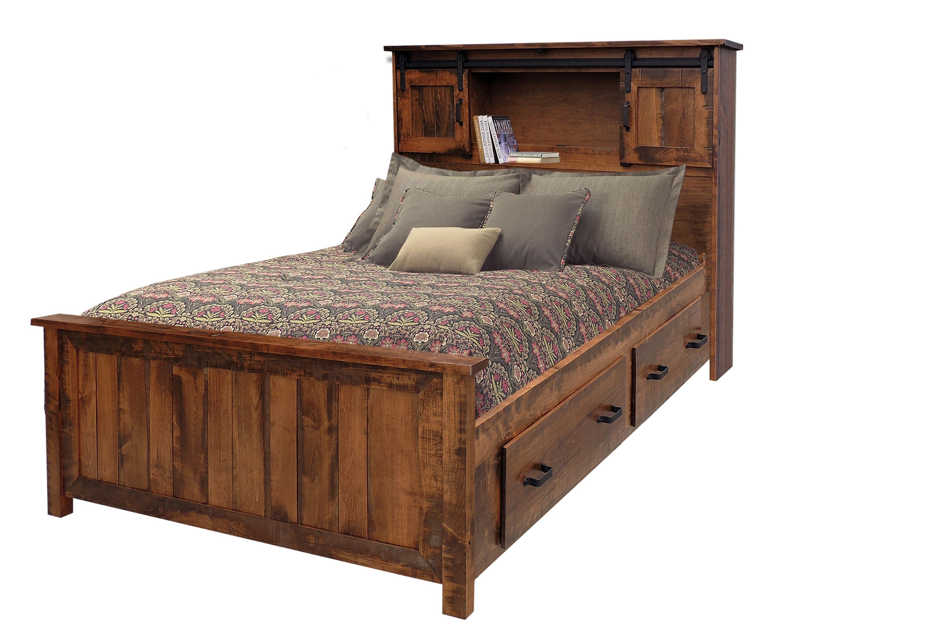 Wayside Custom Furniture Bear Creek Queen Bookcase Storage Bed