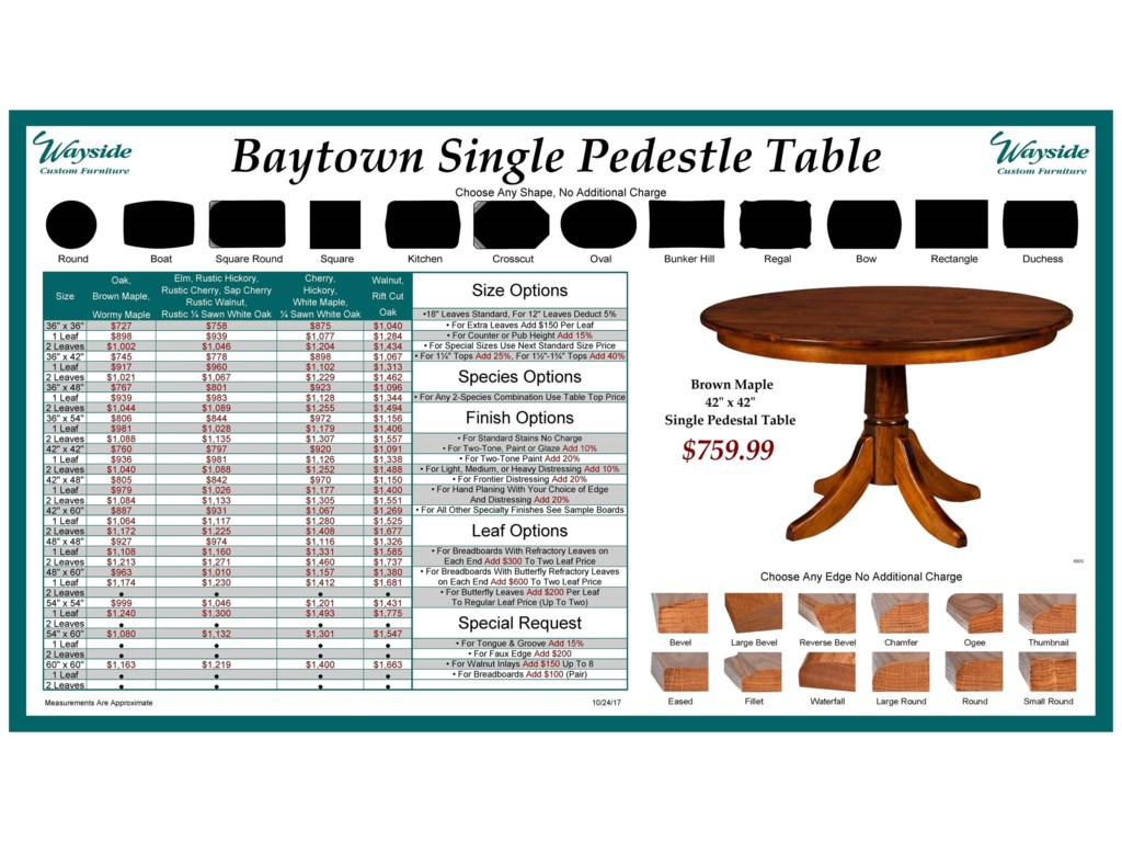 Wayside Custom Furniture Kountry KnobBaytown Single Pedestal Table