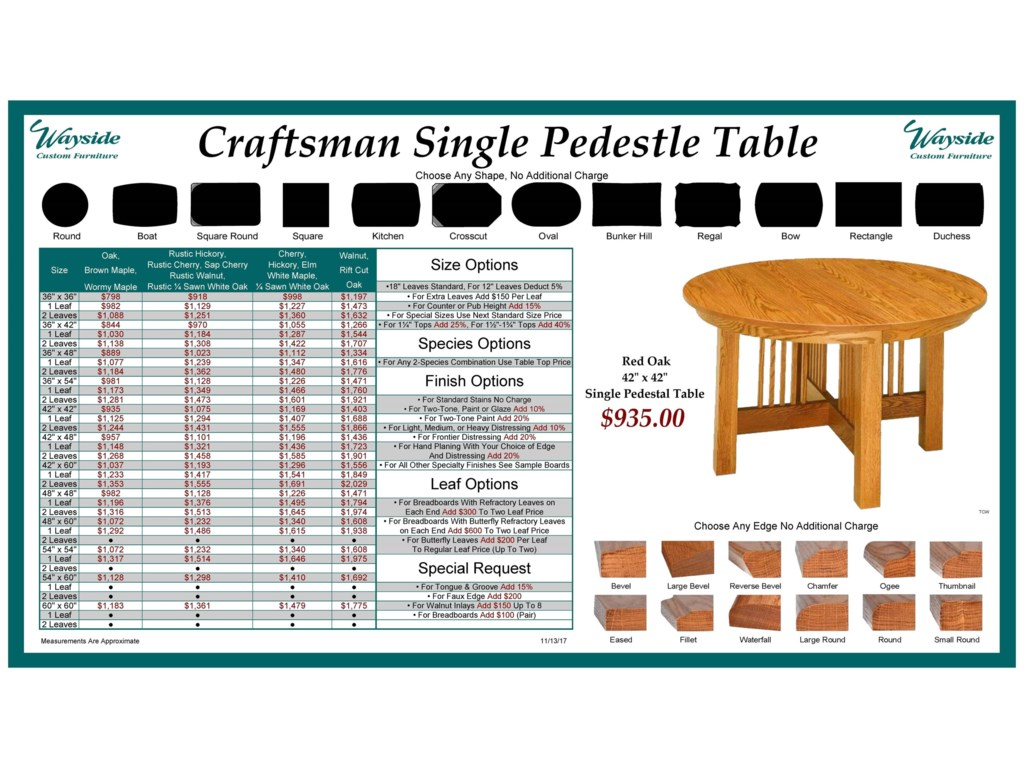 Wayside Custom Furniture Kountry KnobCraftsman Single Pedestal Table