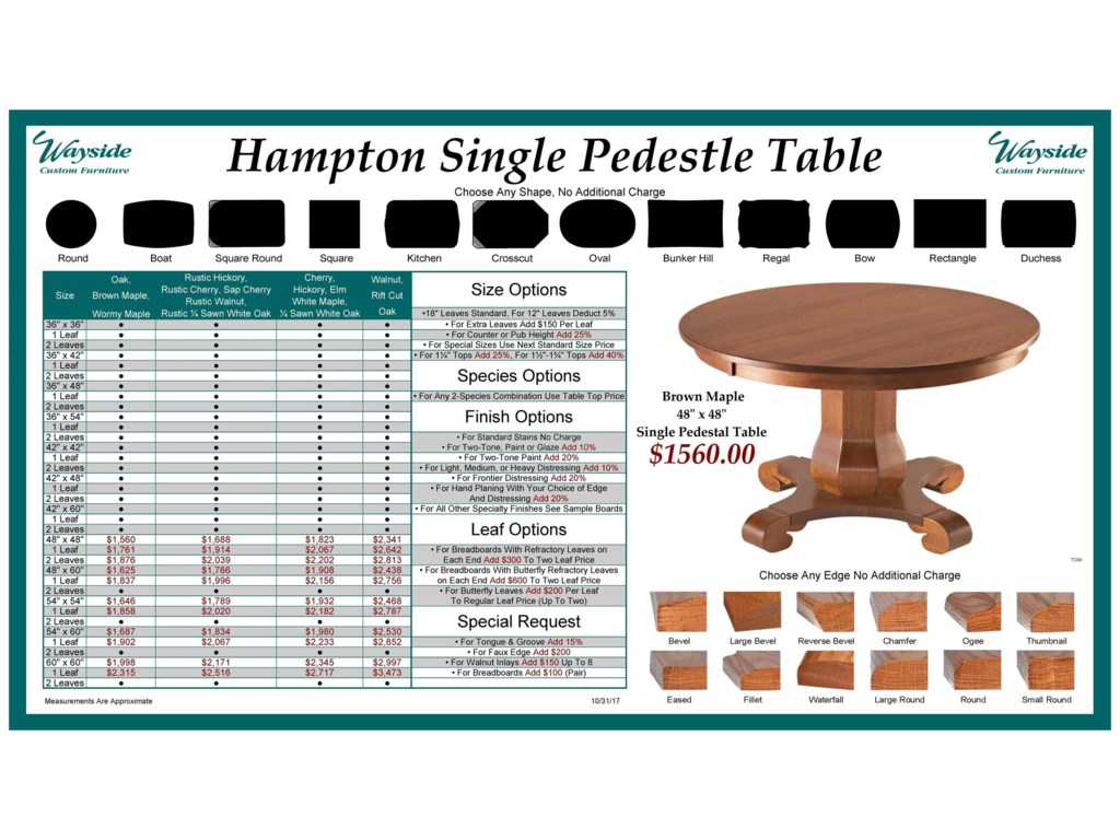 Wayside Custom Furniture Kountry KnobHampton Single Pedestal Table