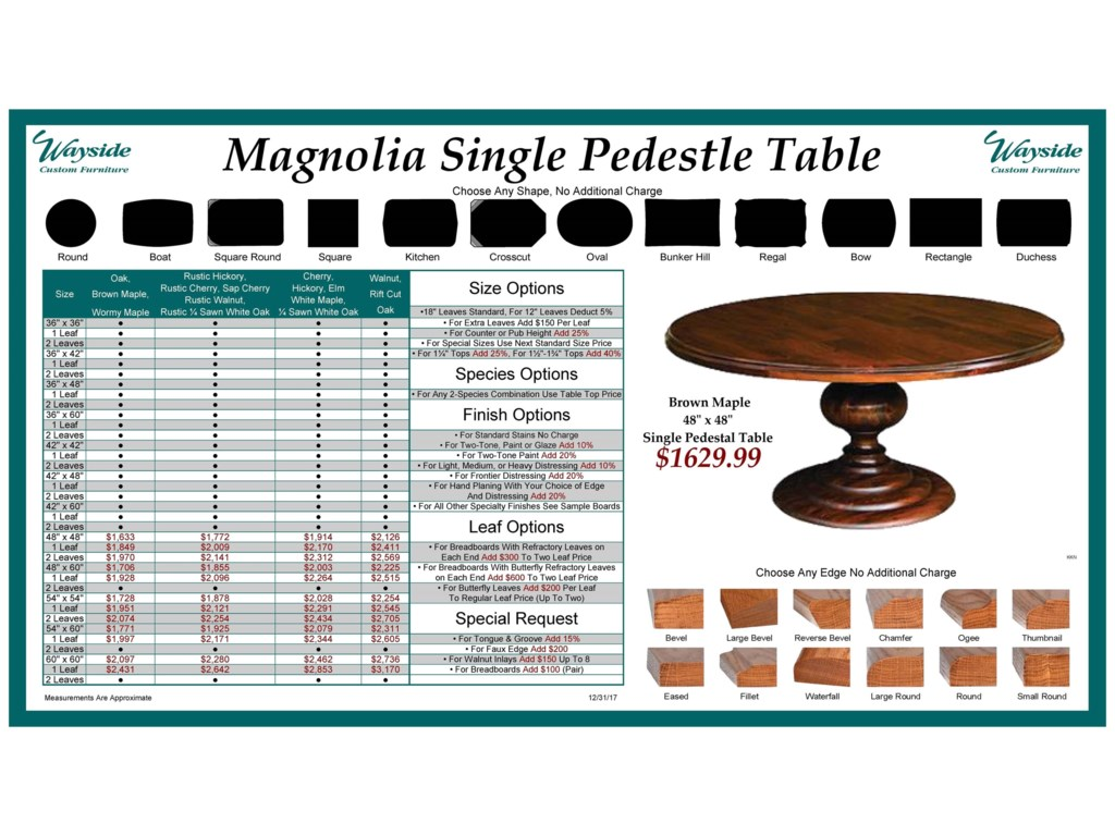 Wayside Custom Furniture Kountry KnobMagnolia Single Pedestal Table