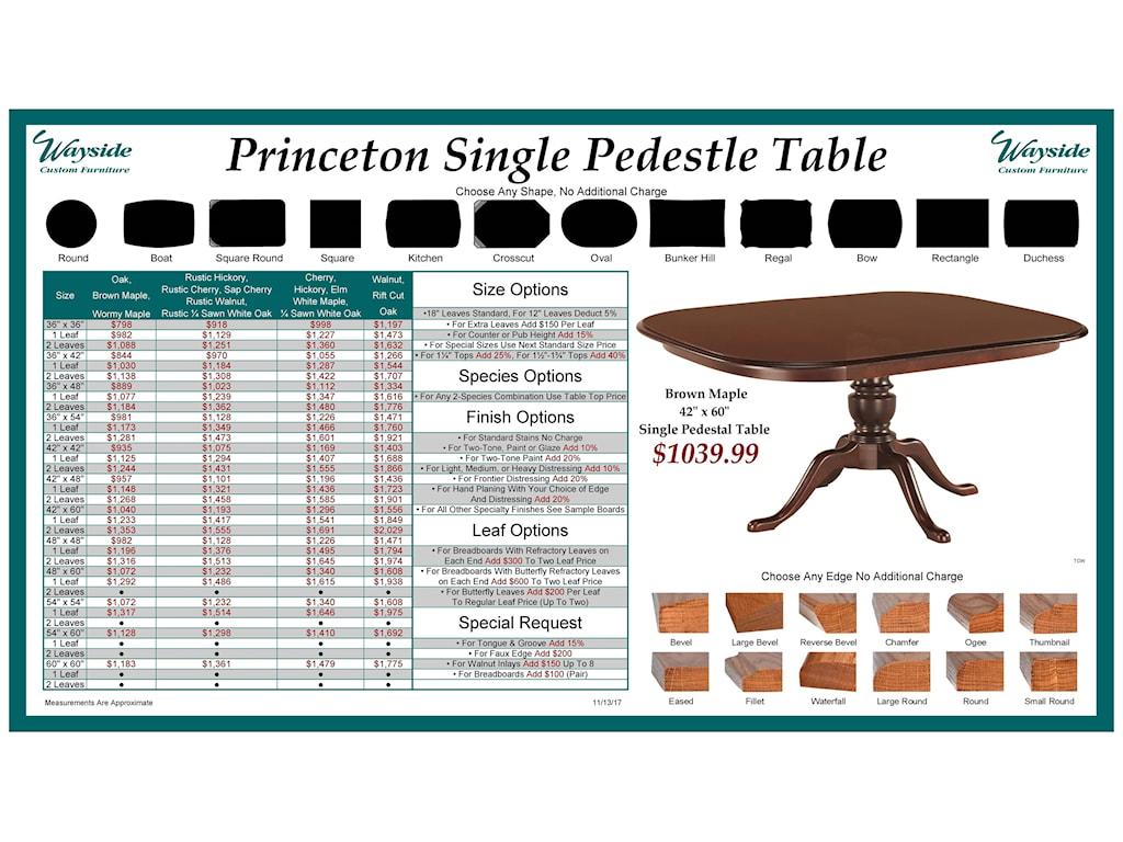 Wayside Custom Furniture Kountry KnobPrinceton Single Pedestal Table