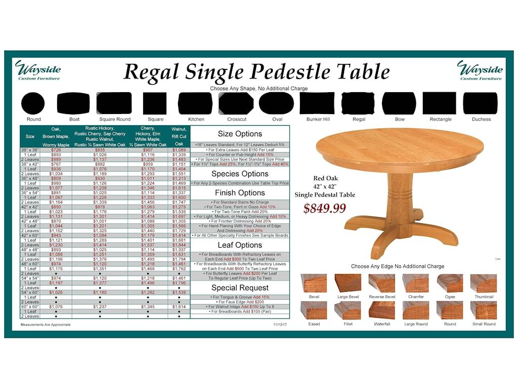 Wayside Custom Furniture Kountry KnobRegal Single Pedestal Table